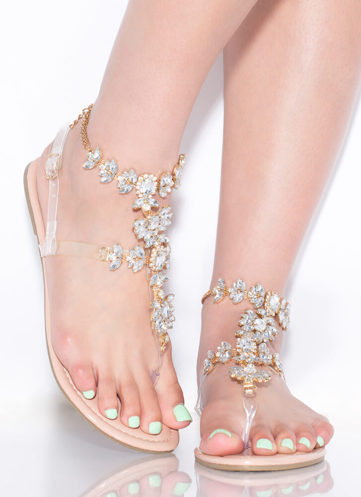 Flower Trail Jeweled T-Strap Sandals CLEAR