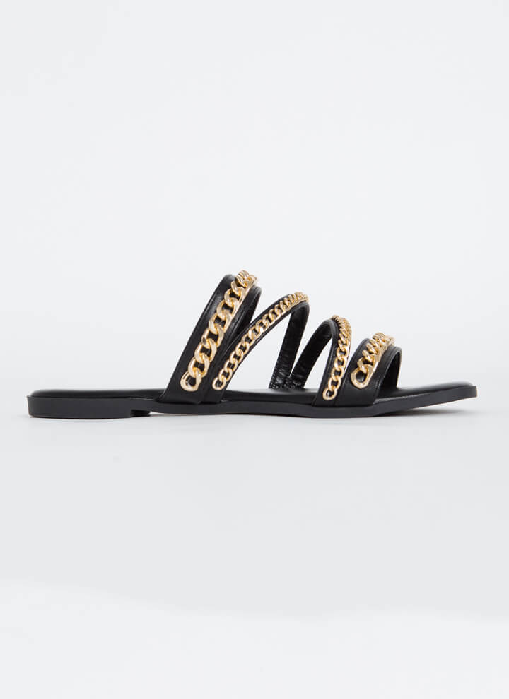 Wrapped In Chains Strappy Slide Sandals BLACK