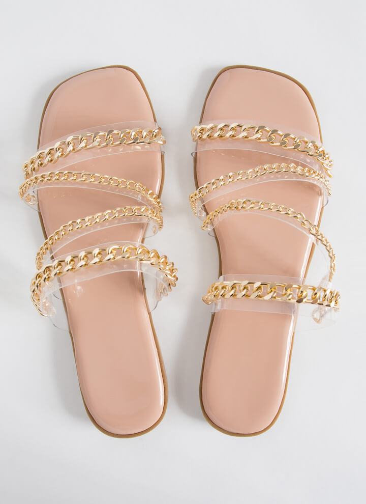 Wrapped In Chains Strappy Slide Sandals CLEAR