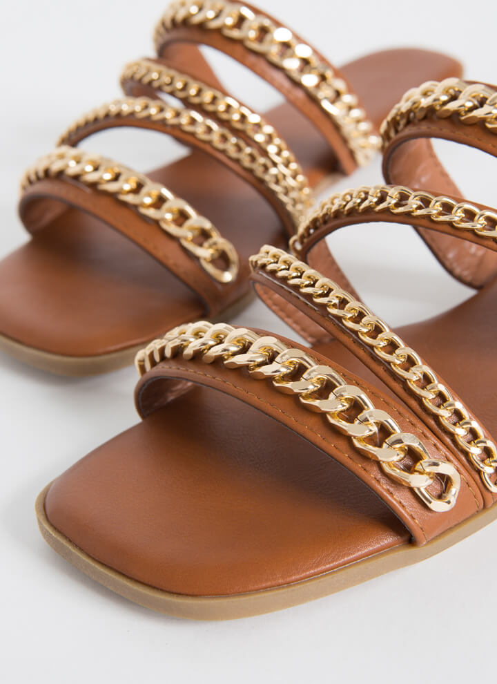 Wrapped In Chains Strappy Slide Sandals COGNAC