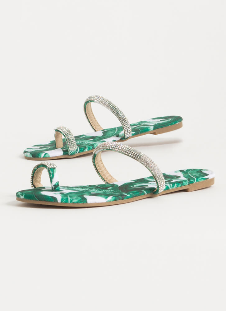 Toes Out Tropical Jeweled Strap Sandals GREEN