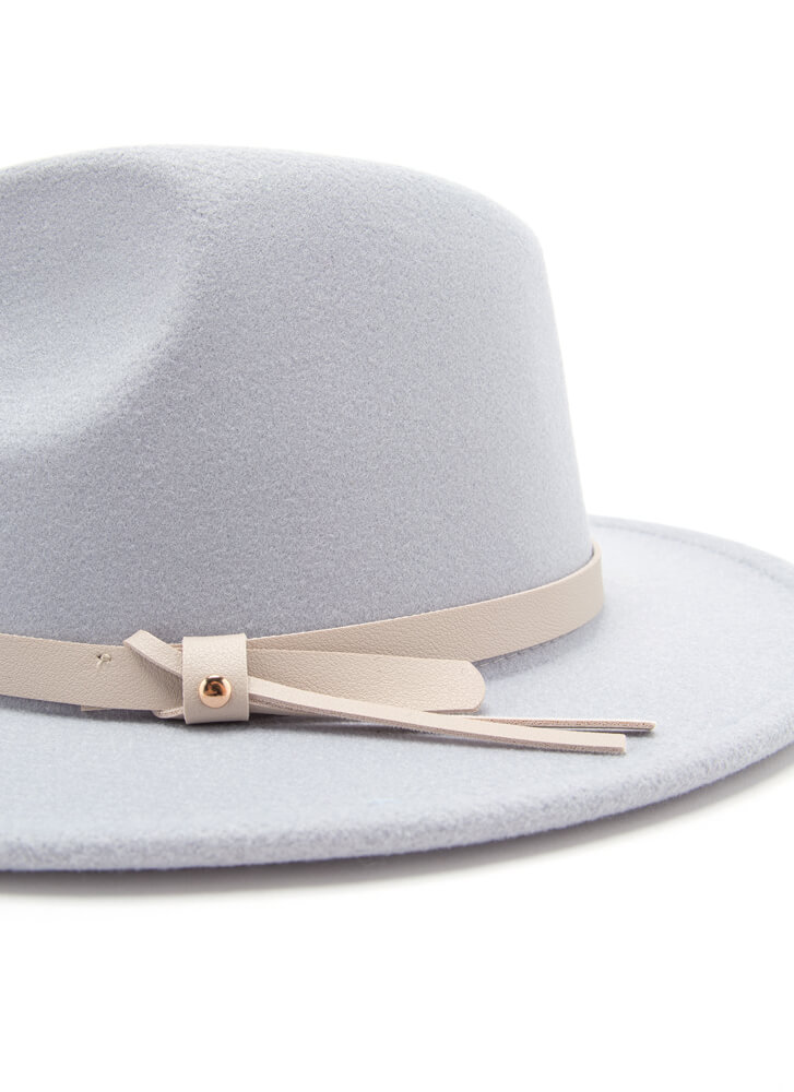Suave Felted Faux Leather Trim Fedora BLUE