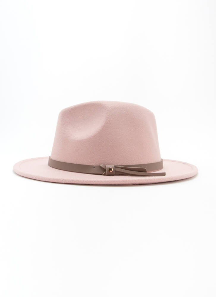 Suave Felted Faux Leather Trim Fedora PINK