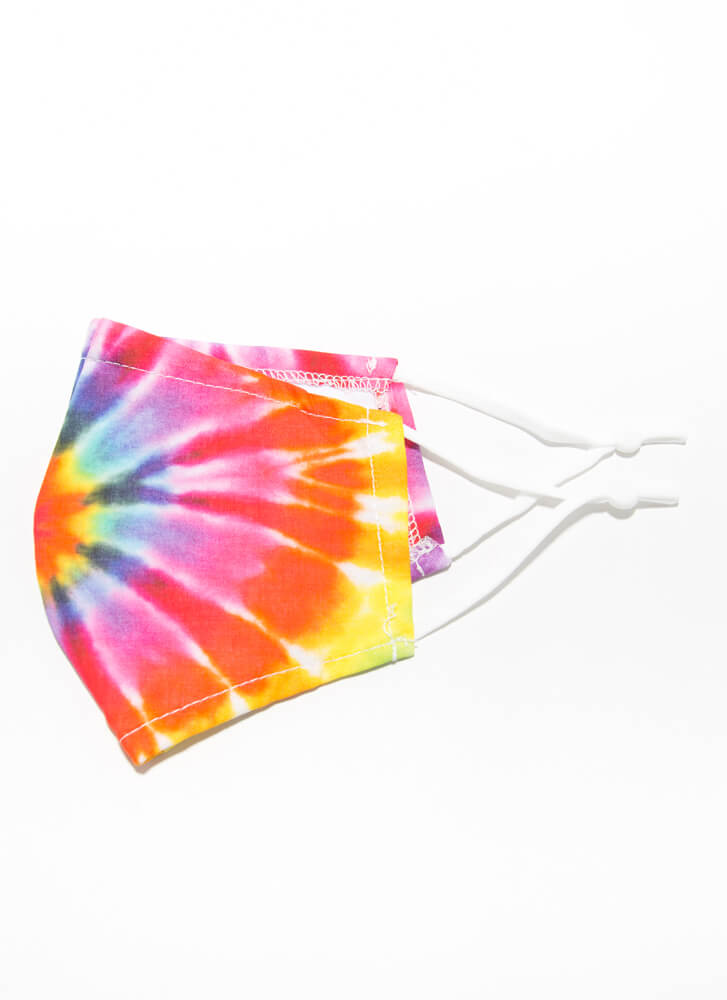Tip To Tie-Dye Pocketed Face Mask RAINBOW
