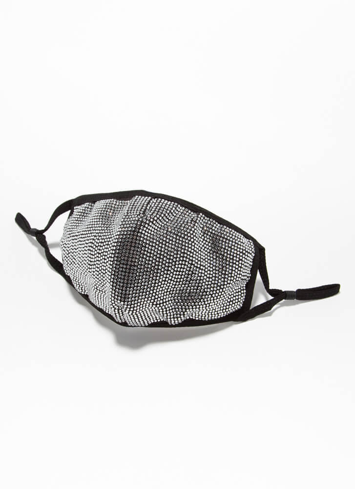 Glisten Up Pocketed Rhinestone Face Mask CLEARBLACK