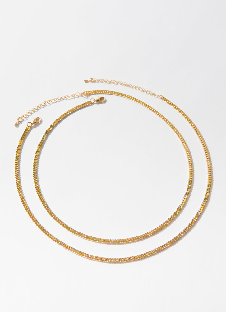 I Added You Curb Chain Necklace Duo GOLD