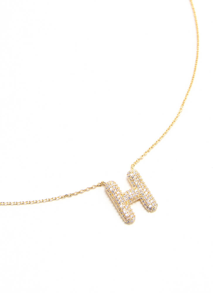 The Letter H Gold-Dipped Charm Necklace GOLD