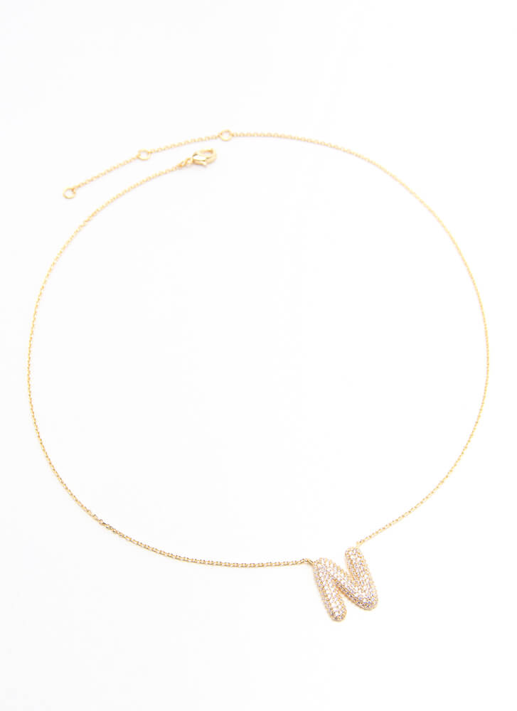 The Letter N Jeweled Charm Necklace GOLD