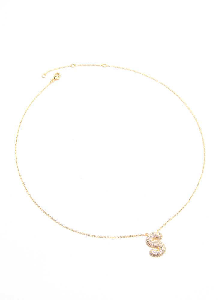The Letter S Gold-Dipped Charm Necklace GOLD
