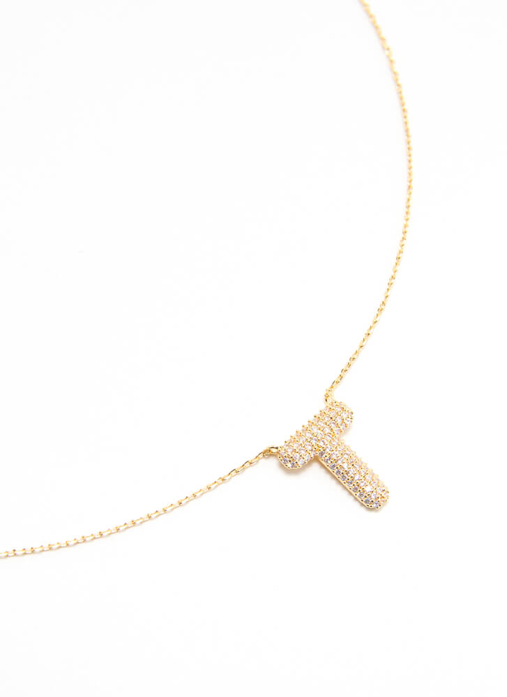 The Letter T Gold-Dipped Charm Necklace GOLD