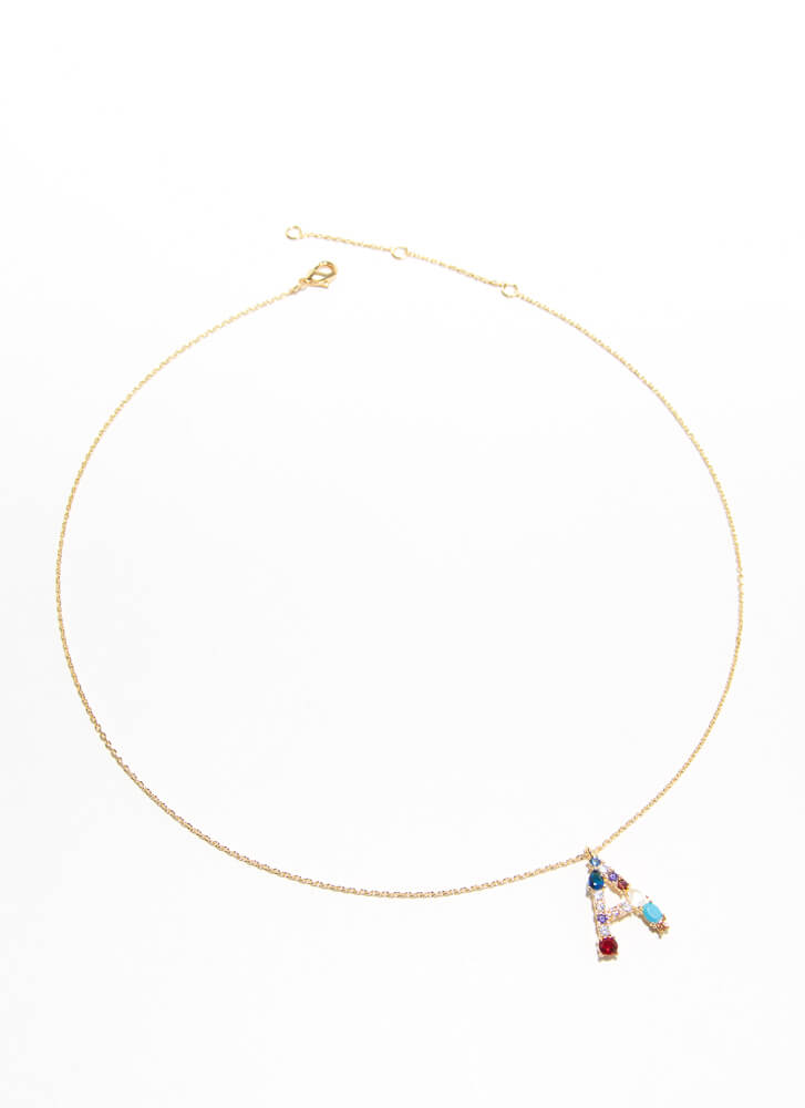 Letter A Gold-Dipped Gemstone Necklace GOLDMULTI