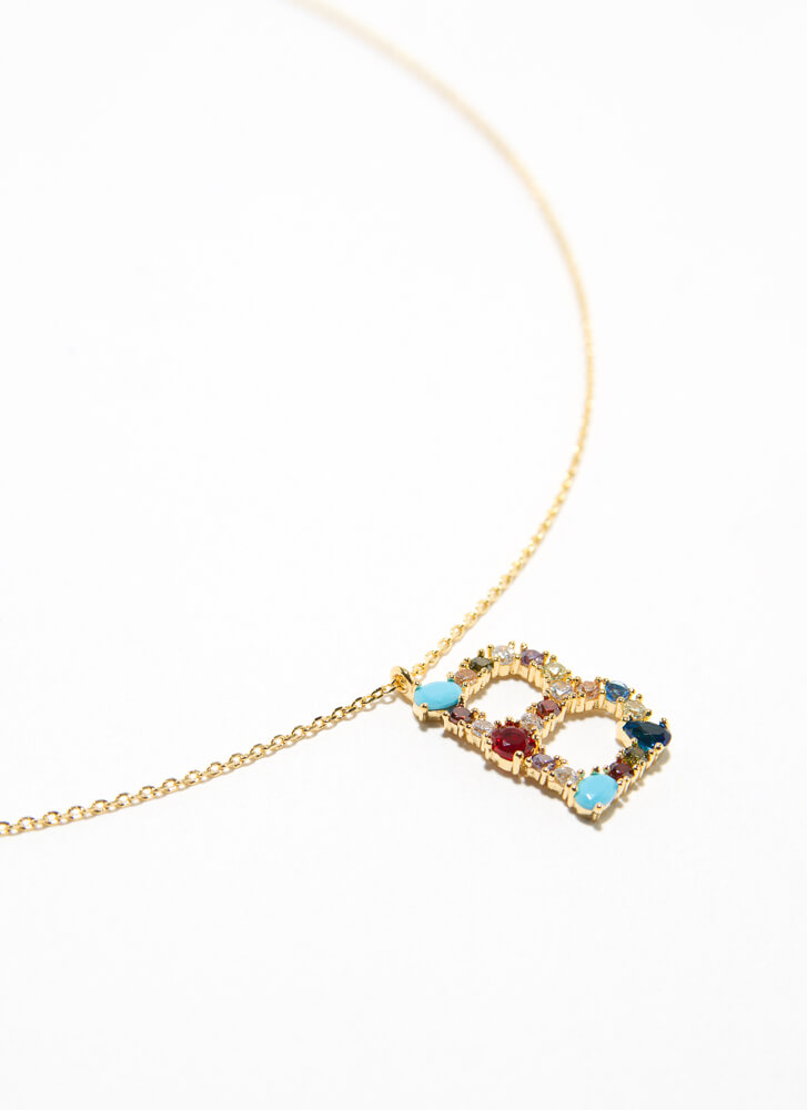 Letter B Gold-Dipped Gemstone Necklace GOLDMULTI