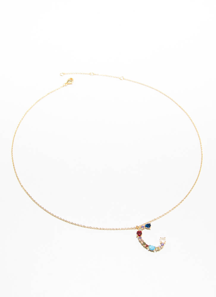 Letter C Gold-Dipped Gemstone Necklace GOLDMULTI