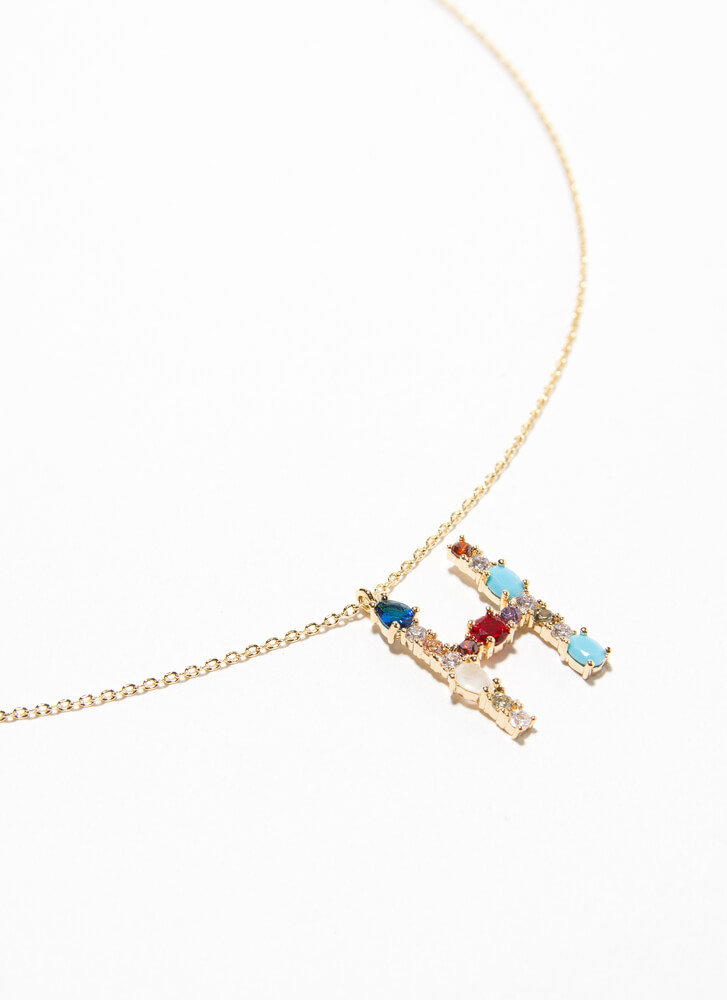Letter H Gold-Dipped Gemstone Necklace GOLDMULTI