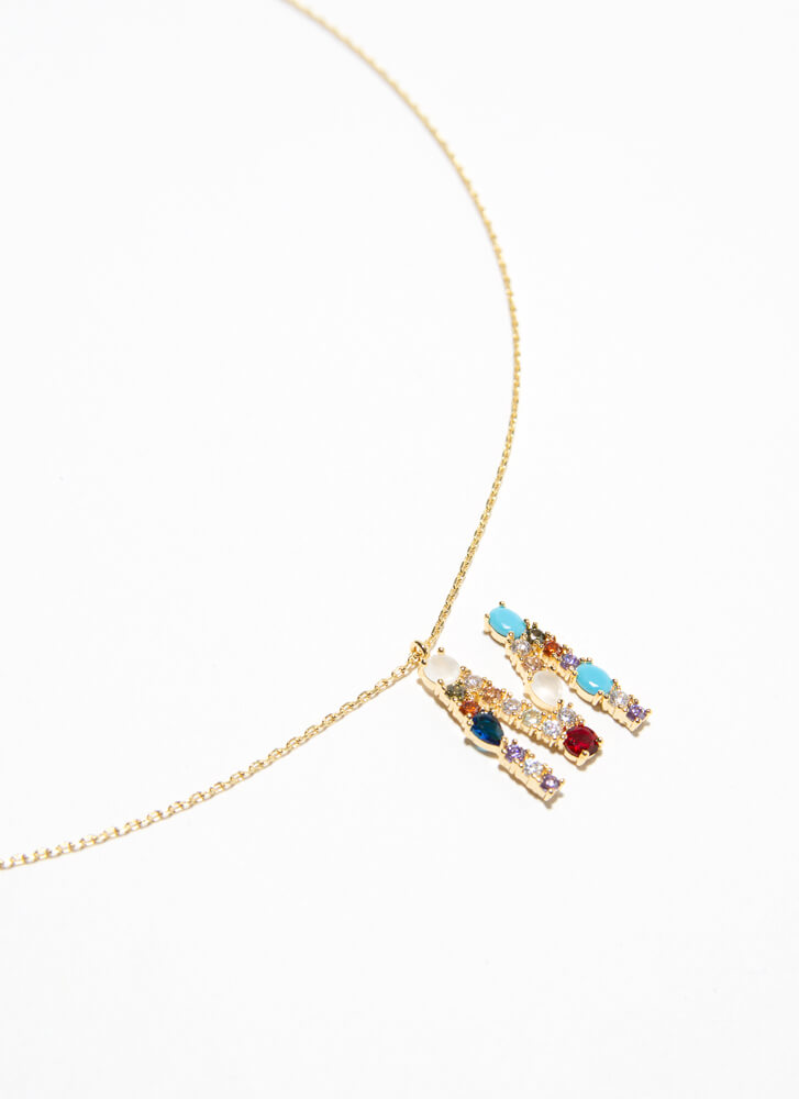 Letter M Gold-Dipped Gemstone Necklace GOLDMULTI