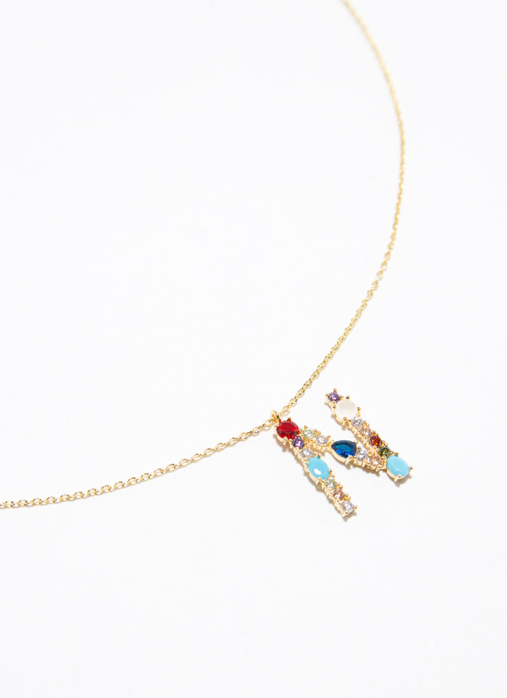 Letter N Gold-Dipped Gemstone Necklace GOLDMULTI