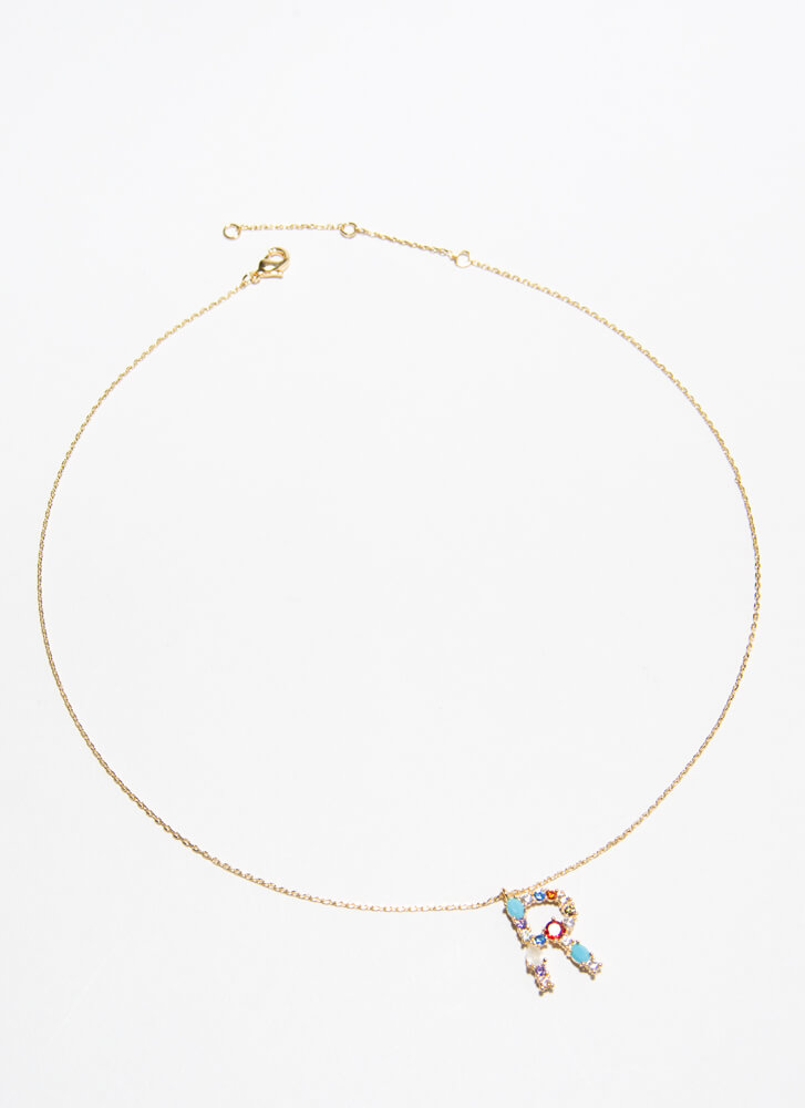 Letter R Gold-Dipped Gemstone Necklace GOLDMULTI