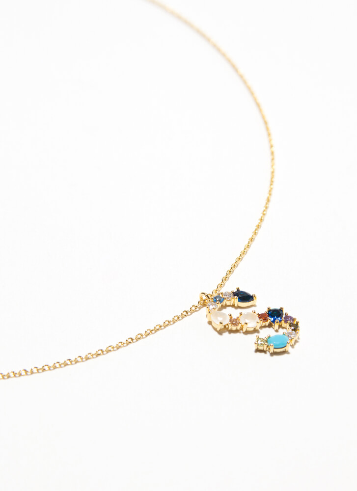 Letter S Gold-Dipped Gemstone Necklace GOLDMULTI