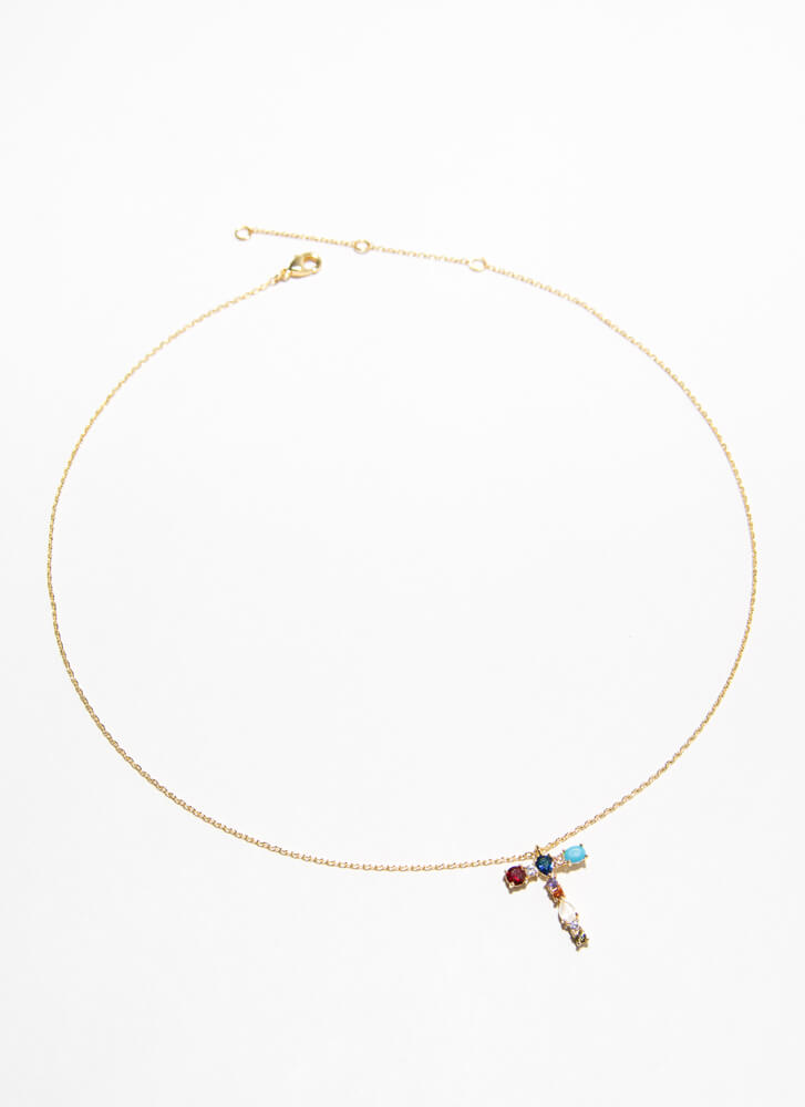 Letter T Gold-Dipped Gemstone Necklace GOLDMULTI