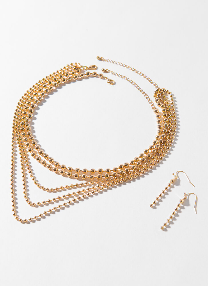 Wants And Beads Layered Necklace Set GOLD