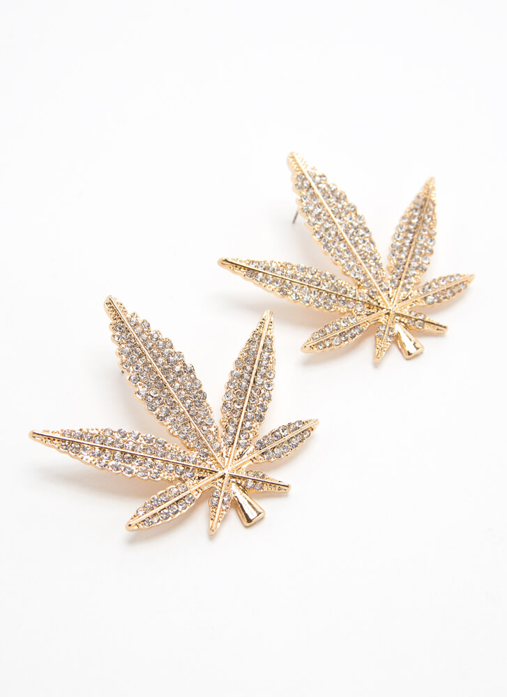 Leaf It To Me Oversized Jeweled Earrings GOLD