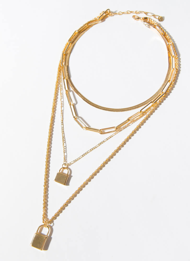 Lock In My Answer Layered Charm Necklace GOLD
