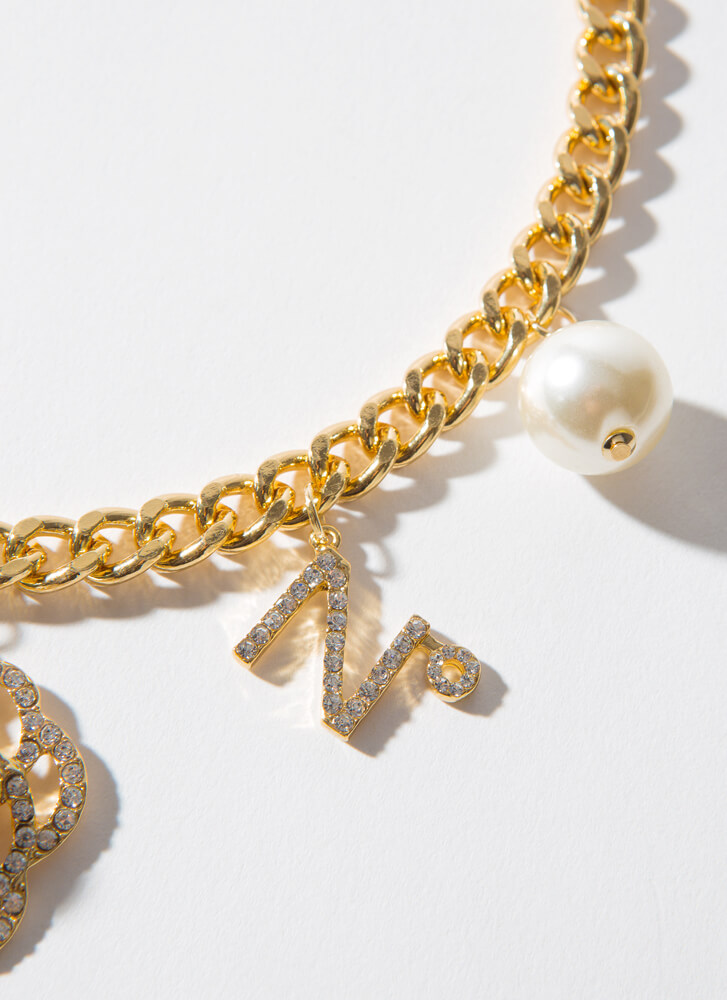 Number 5 Faux Pearl Charm Choker GOLDCLEAR