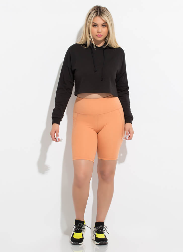 Out For A Run Pocketed Biker Shorts ORANGE