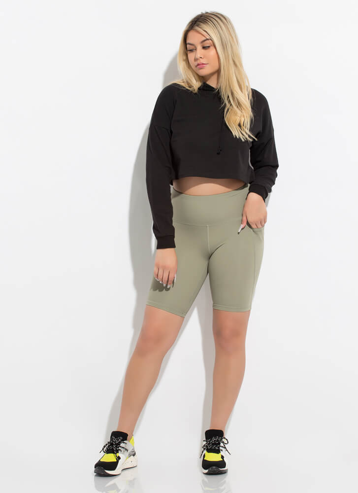 Out For A Run Pocketed Biker Shorts SMOKEOLIVE