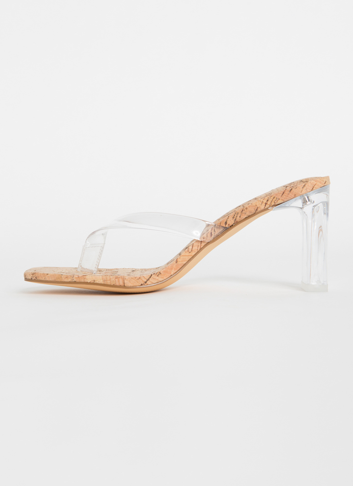 I Like Thongs Cork Lucite Chunky Heels CORK