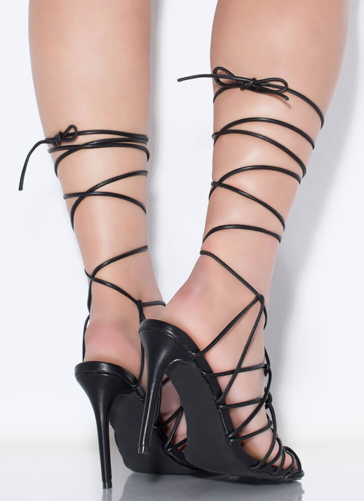 Catch Of The Day Netted Lace-Up Heels BLACK