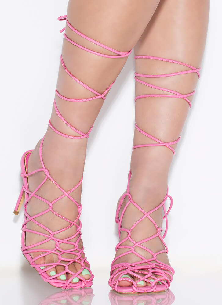 Catch Of The Day Netted Lace-Up Heels PINK