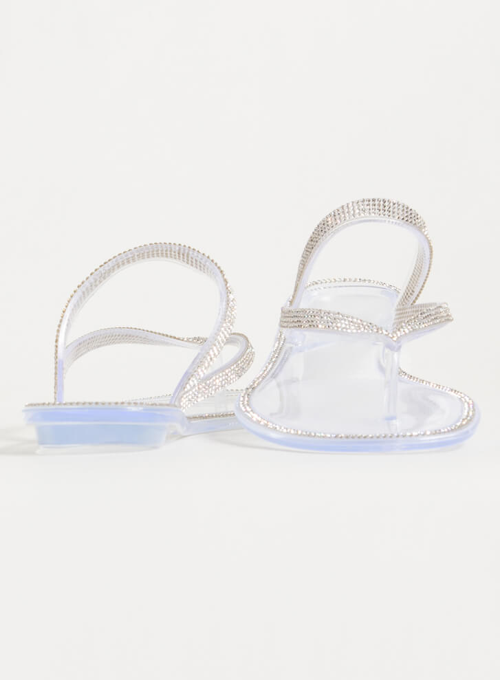Easy Sparkle Jeweled Jelly Thong Sandals CLEAR