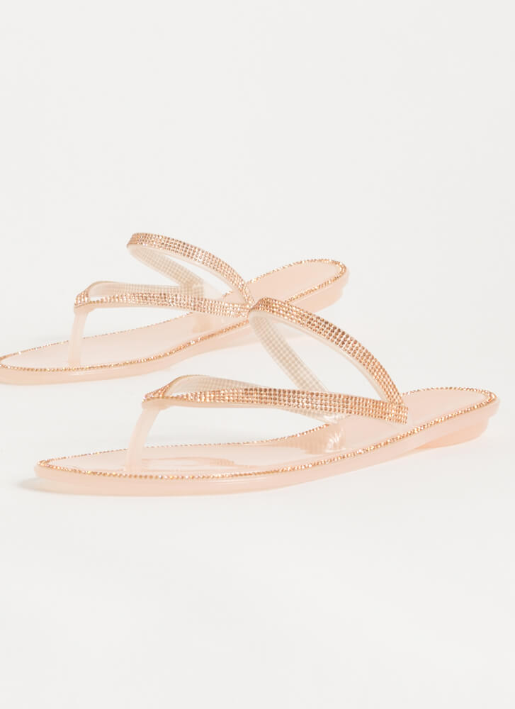 Easy Sparkle Jeweled Jelly Thong Sandals NUDE