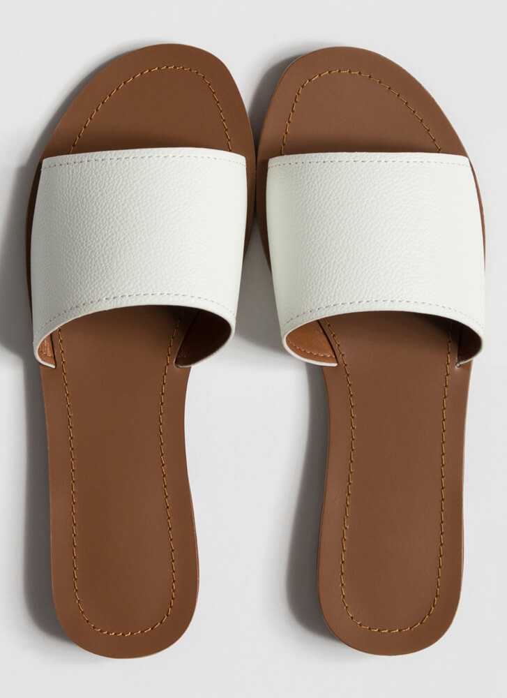 Simple Style Faux Leather Slide Sandals WHITE