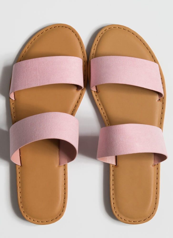 Poolside Party Faux Suede Slide Sandals PINK