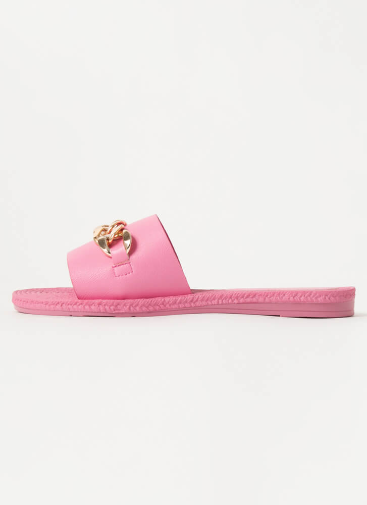 Resort Vibes Chain Accent Slide Sandals PINK