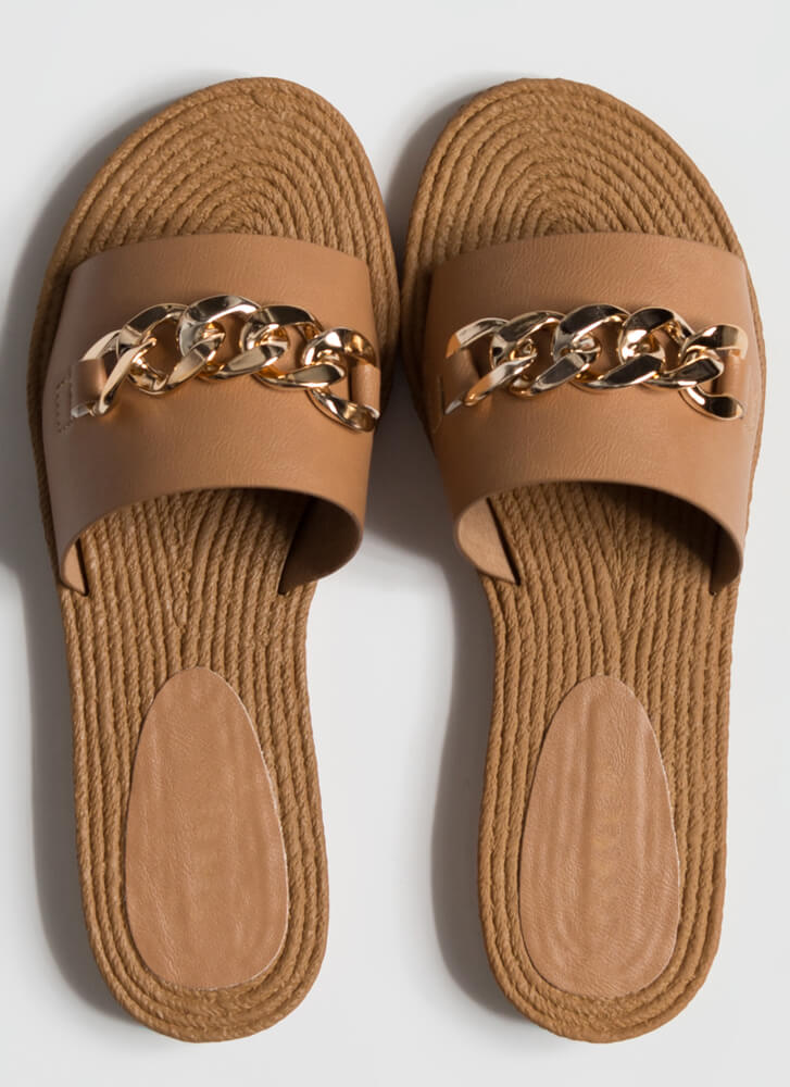 Resort Vibes Chain Accent Slide Sandals TAN