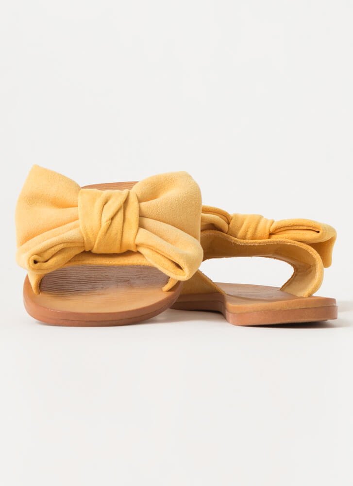 Big Bow Girls Faux Suede Slide Sandals AMBER