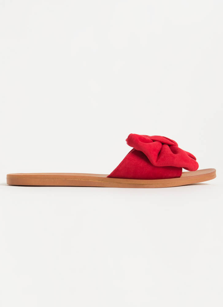 Big Bow Girls Faux Suede Slide Sandals RED