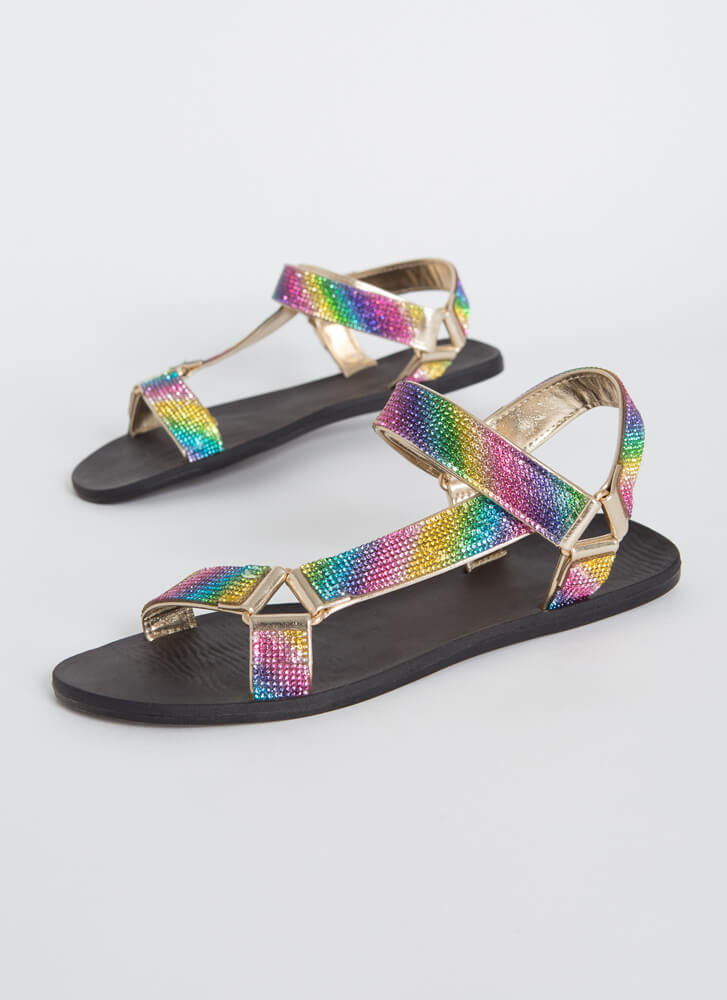 Out-Sparkle Rhinestone Strap Sandals GOLD