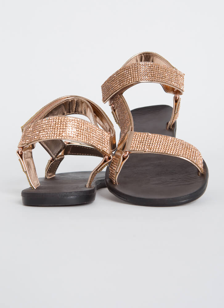 Out-Sparkle Rhinestone Strap Sandals ROSEGOLD