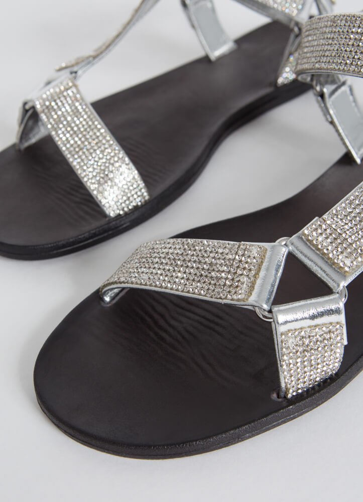 Out-Sparkle Rhinestone Strap Sandals SILVER