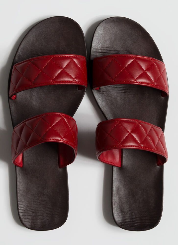 Good Match Quilted Strap Slide Sandals RED
