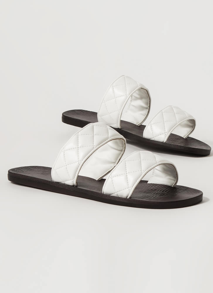 Good Match Quilted Strap Slide Sandals WHITE