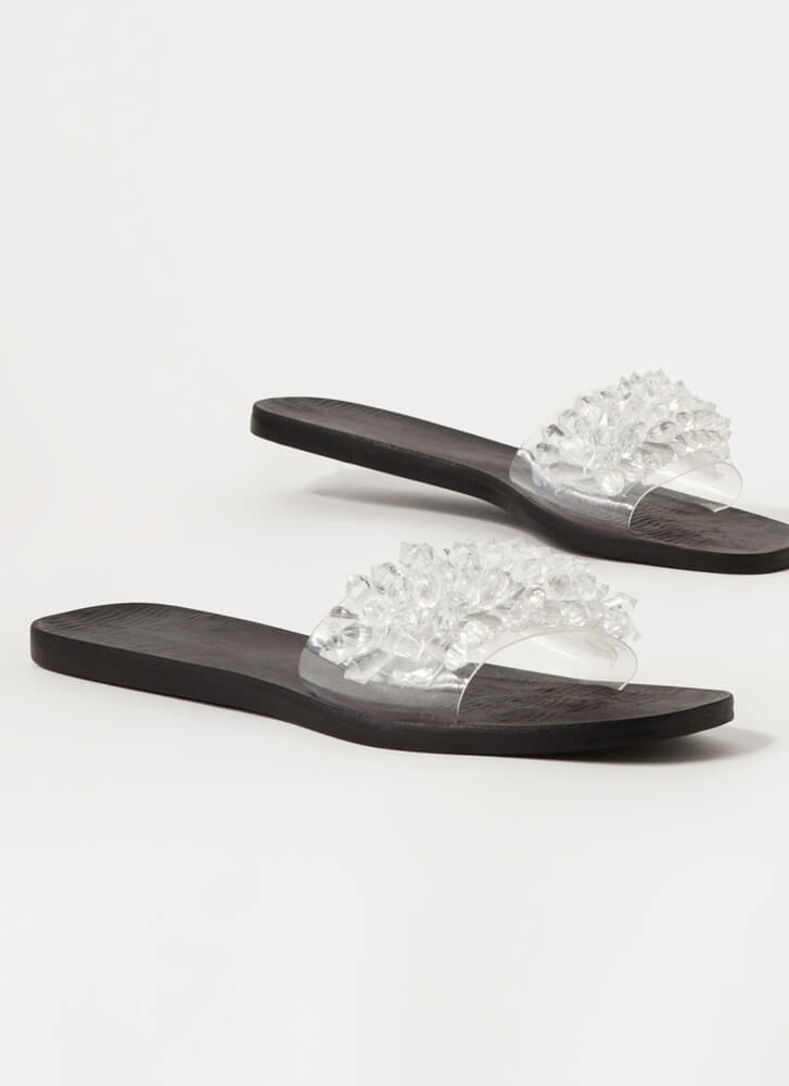 Uncover Gems Clear Jeweled Slide Sandals CLEAR