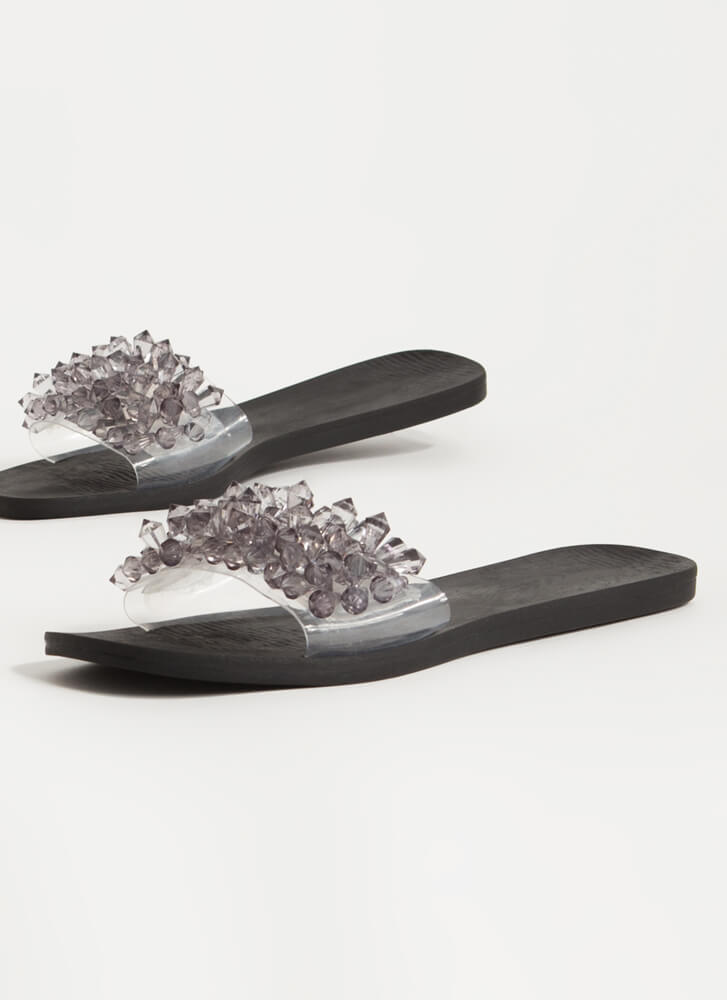 Uncover Gems Clear Jeweled Slide Sandals SMOKE