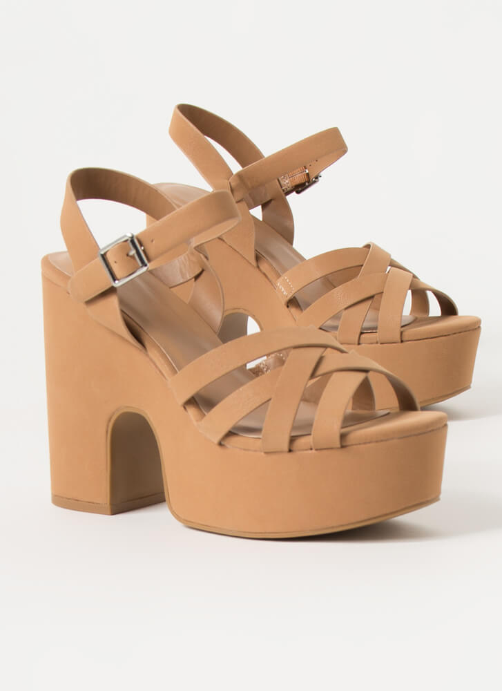 Oh High Strappy Super Chunky Platforms CAMEL