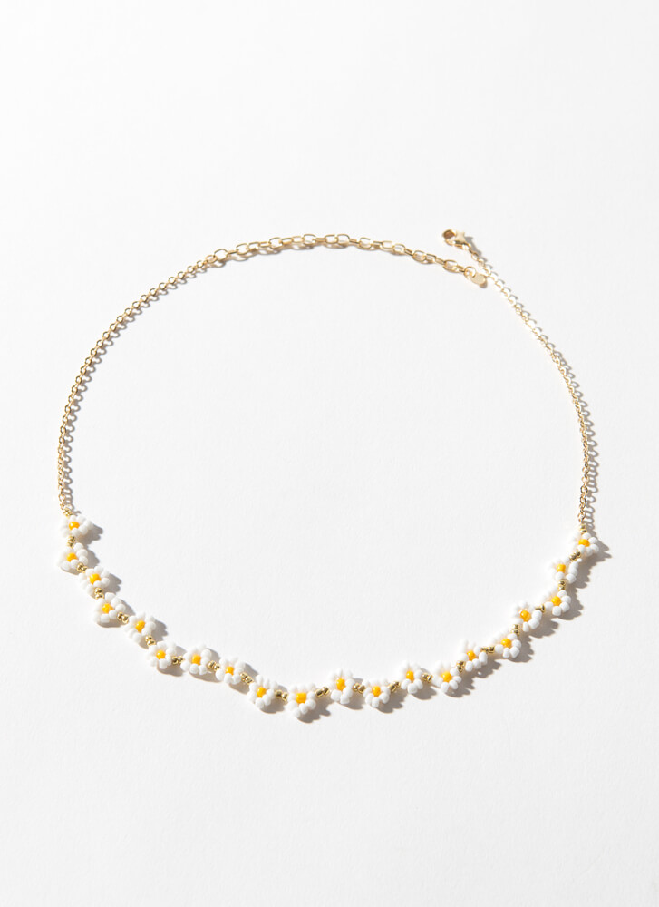 Daisy Chain Beaded Flower Necklace GOLD