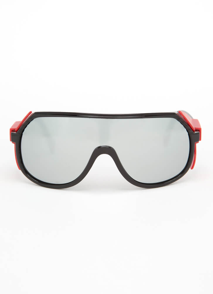 Blinders On Sporty Goggle Sunglasses REDSILVER